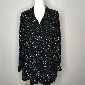 Catherines 2X Button Down Top Blouse Polka Dot